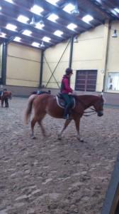 SO-Athletin Pia übt mit ihrem Pferd Lotte für die Reitwettbewerbe der Special Olympics Düsseldorf 2014 (Foto: HKS)